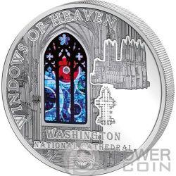 WINDOWS OF HEAVEN WASHINGTON CATHEDRAL Lunar Rock Серебро Монета 10$ Острова Кука 2014