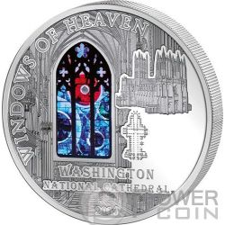 WINDOWS OF HEAVEN WASHINGTON CATHEDRAL Lunar Rock Silver Coin 10$ Cook Islands 2014