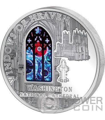 WINDOWS OF HEAVEN WASHINGTON CATHEDRAL Lunar Rock Silver Coin 10$ Cook Islands 2014