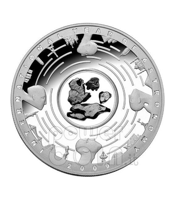METEORITE International Year Astronomy IYA Silber Münze 5$ Australia 2009