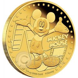 MICKEY MOUSE Mickey And Friends Disney 1/4 Oz Gold Proof Coin 25$ Niue 2014