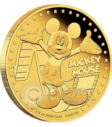 MICKEY MOUSE Topolino Mickey And Friends Disney 1/4 Oz Moneta Oro 25$ Niue 2014