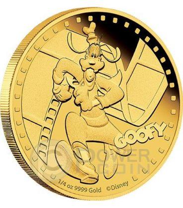 GOOFY Pippo Mickey And Friends Disney 1/4 Oz Moneta Oro 25$ Niue 2014