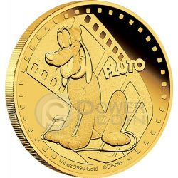 PLUTO Mickey And Friends Disney 1/4 Oz Moneta Oro 25$ Niue 2014