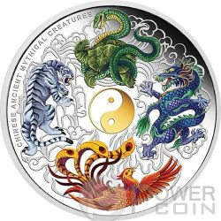 CREATURE MITOLOGICHE CINESI Chinese Ancient Mythical Creatures Moneta Argento 5 Oz 5$ Tuvalu 2014