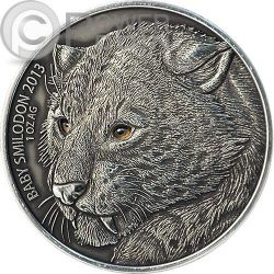 BABY SMILODON Real Eye Saber Toothed Tiger 1 Oz Silver Coin 1000 Francs Burkina Faso 2013