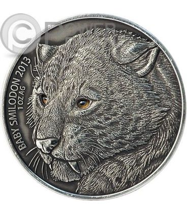 BABY SMILODON Real Eye Animali Preistorici Moneta Argento 1 Oz 1000 Franchi Burkina Faso 2013
