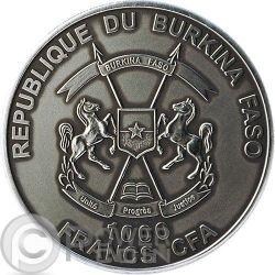 BABY SMILODON Real Eye Animali Preistorici Moneta Argento 1 Oz 1000 Franchi Burkina Faso 2013
