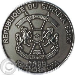 BABY SMILODON Real Eye Saber Toothed Tiger 1 Oz Silver Coin 1000 Francs Burkina Faso 2013