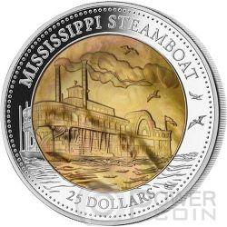 MISSISSIPPI STEAMBOAT Mother Of Pearl 5 Oz Серебро Монета 25$ Острова Кука 2015