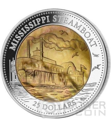 MISSISSIPPI STEAMBOAT Battello Vapore Madreperla Moneta Argento 5 Oz 25$ Cook Islands 2015