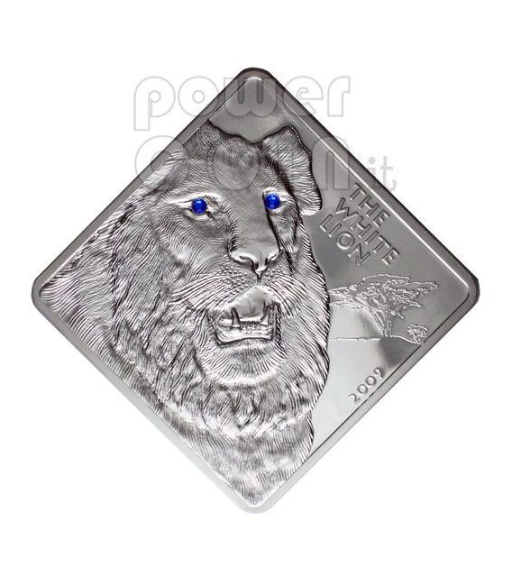 WHITE LION Rare Wildlife Swarovski 2 Oz Moneda Plata Malawi 2009