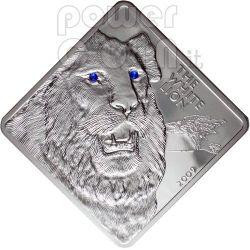 WHITE LION Rare Wildlife Swarovski 2 Oz Silber Münze Malawi 2009