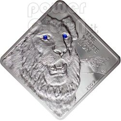 WHITE LION Rare Wildlife Swarovski 2 Oz Silver Coin Malawi 2009