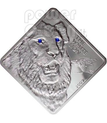 WHITE LION Rare Wildlife Swarovski 2 Oz Silver Coin Malawi 2009