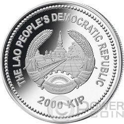 GOAT Jade Lunar Year 2 Oz Silver Coin 2000 Kip Lao Laos 2015