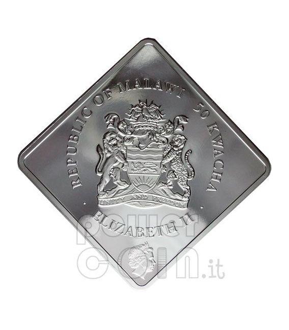 WHITE LION Rare Wildlife Swarovski 2 Oz Серебро Монета Малави 2009