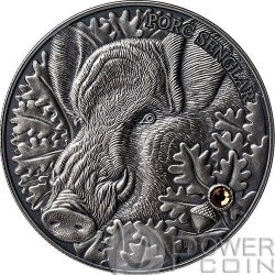 WILD BOAR Atlas Wildlife Series Europe Swarovski Crystal Moneda Plata 10D Andorra 2014
