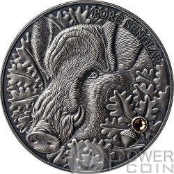 WILD BOAR Atlas Wildlife Series Europe Swarovski Crystal Silver Coin 10D Andorra 2014