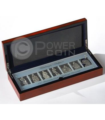 MICHELANGELO SCULPTURES Buonarroti 450th Anniversary Set Seven 7 Silver Coin 10$ Niue 2014