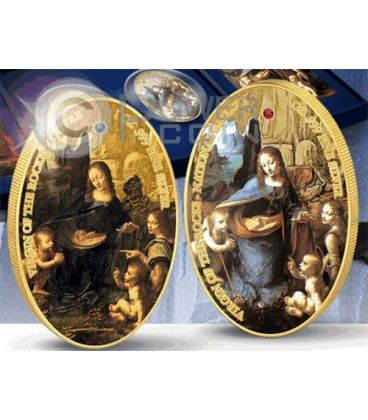VIRGIN OF THE ROCKS Sisters Jewels of Art Silver Gold Two 2 Coin Set 2 Pound Ascension Island 2014