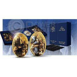 VIRGIN OF THE ROCKS Sisters Jewels of Art Серебро Золото Two 2 Монета Set 2 Pound Ascension Island 2014