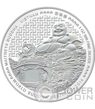 MAITREYA BUDDHA World Heritage Vietnam Silver Coin Bhutan 2014