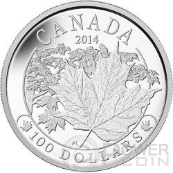 MAPLE LEAF MAJESTIC Foglia Acero Moneta 10 oz Argento 100$ Canada 2014