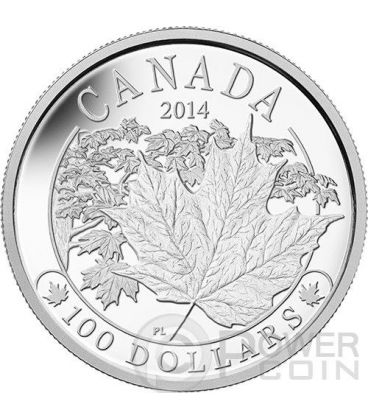 MAPLE LEAF MAJESTIC Foglia Acero Moneta 10 oz Argento 100$ Canada 2014