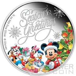 SEASON GREETINGS Natale Mickey And Friends Disney 1/2 Oz Moneta Argento 1$ Niue 2014
