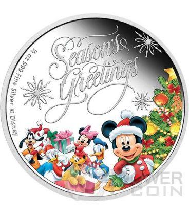 SEASON GREETINGS Natale Mickey And Friends Disney 1/2 Oz Moneta Argento 1$ Niue 2014