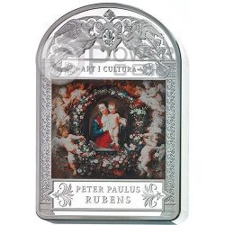 MADONNA IN FLORAL WREATH Peter Paul Rubens 1 Kg Kilo Moneda Plata 100D Andorra 2014
