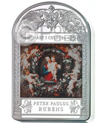 MADONNA IN CORONA FLOREALE Peter Paul Rubens Moneta Argento 1 Kg Kilo 100D Andorra 2014