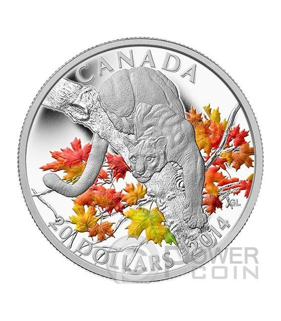 COUGAR Coguaro Puma Acero Moneta Argento 1 oz 20$ Canada 2014
