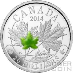 MAPLE LEAF MAJESTIC Jade Silver Proof Coin 20$ Canada 2014
