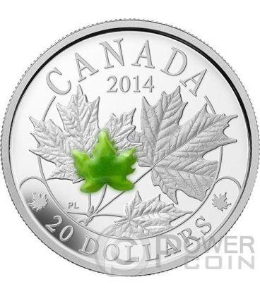 MAPLE LEAF MAJESTIC Foglia Acero Giada Moneta Argento 20$ Canada 2014