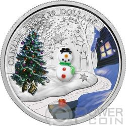 SNOWMAN Holiday Season Christmas Venetian Glass Murano Silver Proof Coin 20$ Canada 2014