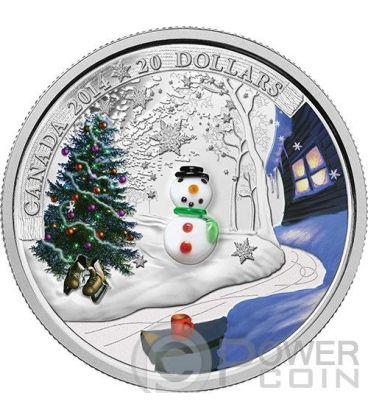 SNOWMAN Holiday Season Natale Vetro Murano Moneta Argento 20$ Canada 2014