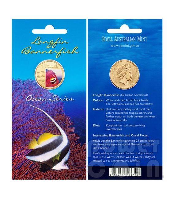 LONGFIN BANNERFISH OCEAN SERIES Coin 1$ Australia 2007