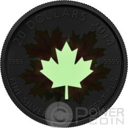 MAPLE LEAF Glow In The Dark Silver Coin 20$ Canada 2014