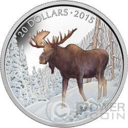 MAJESTIC MOOSE Canadian Wilderness 1 oz Silver Proof Coin 20$ Canada 2014
