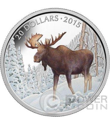 MAJESTIC MOOSE Alce Canadese Moneta Argento 1 oz 20$ Canada 2014