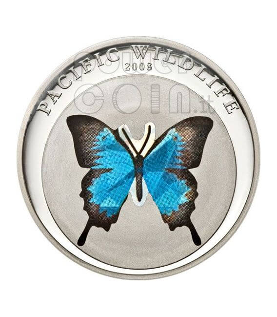 BUTTERFLY BLUE Pacific Wildlife Moneda Plata Prism 5$ Palau 2008
