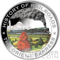 ORIENT EXPRESS History Of Railroads Train Silber Münze 5$ Liberia 2011