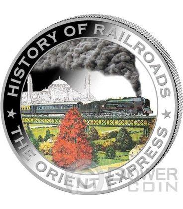 ORIENT EXPRESS History Of Railroads Train Silver Coin 5$ Liberia 2011