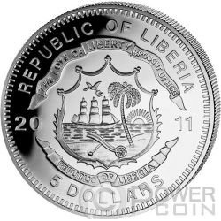 ORIENT EXPRESS History Of Railroads Train Серебро Монета 5$ Либерия 2011