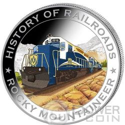 ROCKY MOUNTAINEER History Of Railroads Train Silber Münze 5$ Liberia 2011