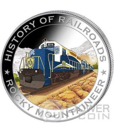 ROCKY MOUNTAINEER Treno Ferrovia Moneta Argento 5$ Liberia 2011