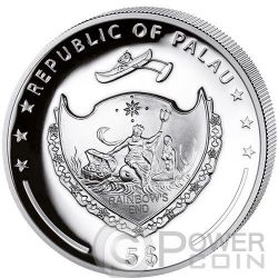 GOAT HIGH RELIEF Chinese Lunar Year Moneda Plata 5$ Palau 2015