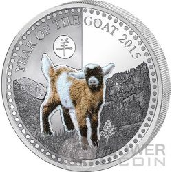 GOAT Haptic Perception Goatskin Lunar Year Chinese Zodiac 1 Oz Moneda Plata 1000 Francs Benin 2015